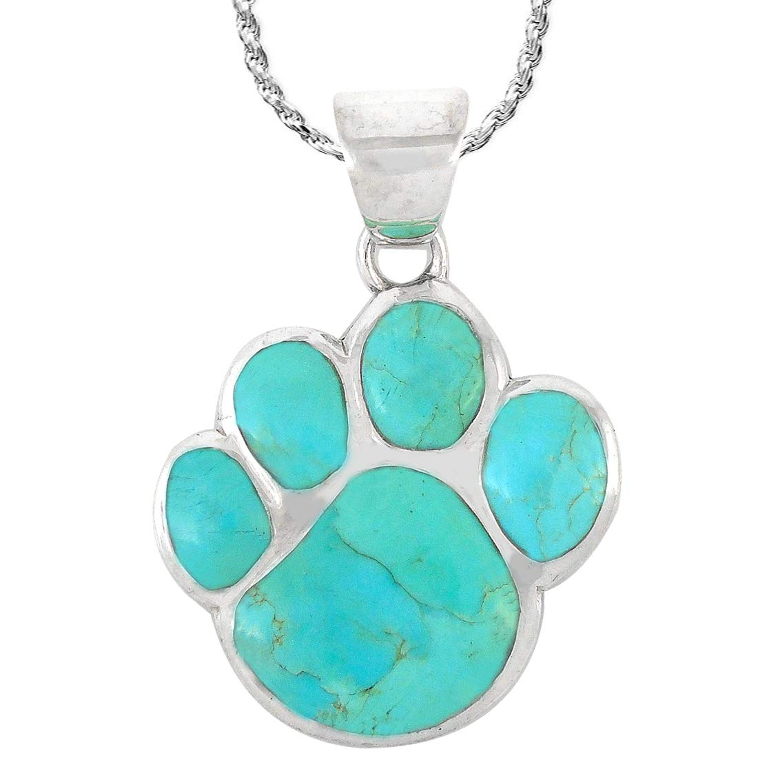 Dog or Cat Paw Necklace Pendant 925 Sterling Silver Genuine Gemstones with 20 Chain