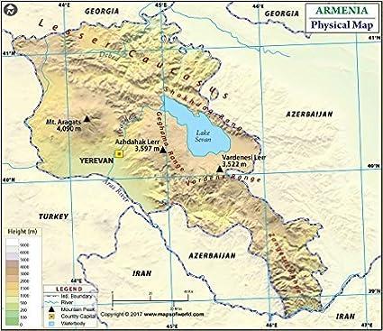 Amazon.com : Armenia Physical Map (36\