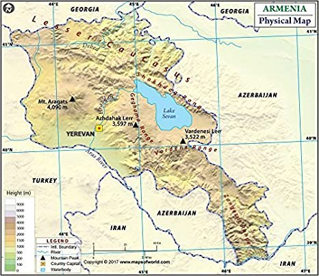 Amazon.com : Armenia Physical Map (36\