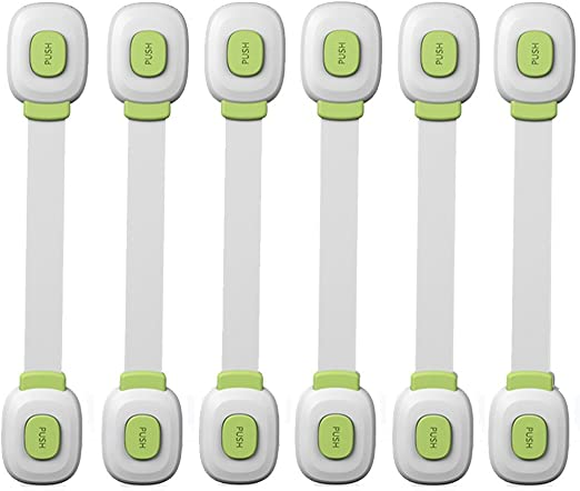 6PCs Safety Locks for Baby,Kids,Child Proof Cabinets with Adjustable Strap,No Drilling Multi Purpose for Drawers Appliances Toilet Seat