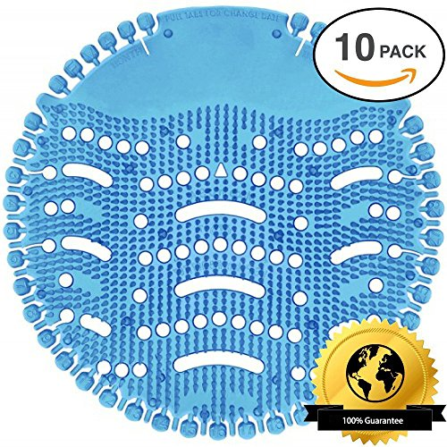 Urinal Screen Deodorizer, 10 Pack Antimicrobial Anti-Splash Deodorizer with Max Coverage in Most Top Urinal Brands/30 Days Ocean Mist Fragrance/up to 5000 Flushes Odor Neutralizer for Bathroom/Office (Tube Urinal Flush)