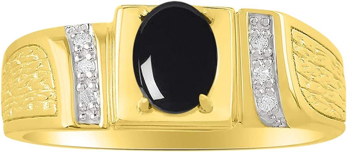 RYLOS - Anillo de oro amarillo de 14 quilates con gemas preciosas ovaladas y diamantes brillantes auténticos para hombre, 8 x 6 mm, esmeralda, rubí y zafiro