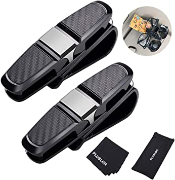 8 Pack Frienda Car Glasses Holder Clip Sunglasses Eyeglasses Holder Mount Double-Ends Clip and 180-Degree Rotatable Ticket Card Clip for Visor Accessories