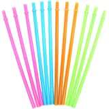 KKMO 12 Piece BPA-Free Clear Reusable Plastic Thick Drinking Straws Mason Jar Straws Mix Assorted Color Hot Pink Blue Orange Green