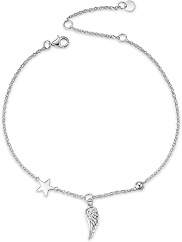 9 10 inches Flyow Anklet for Women S925 Sterling Silver Adjustable Foot Beaded Ankle Bracelet Anklets