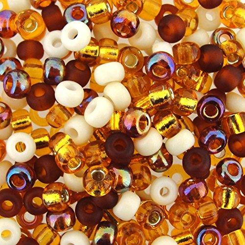 Miyuki Round Seed Beads Size 6/0 20g Honey Butter Mix Brown Round Beads