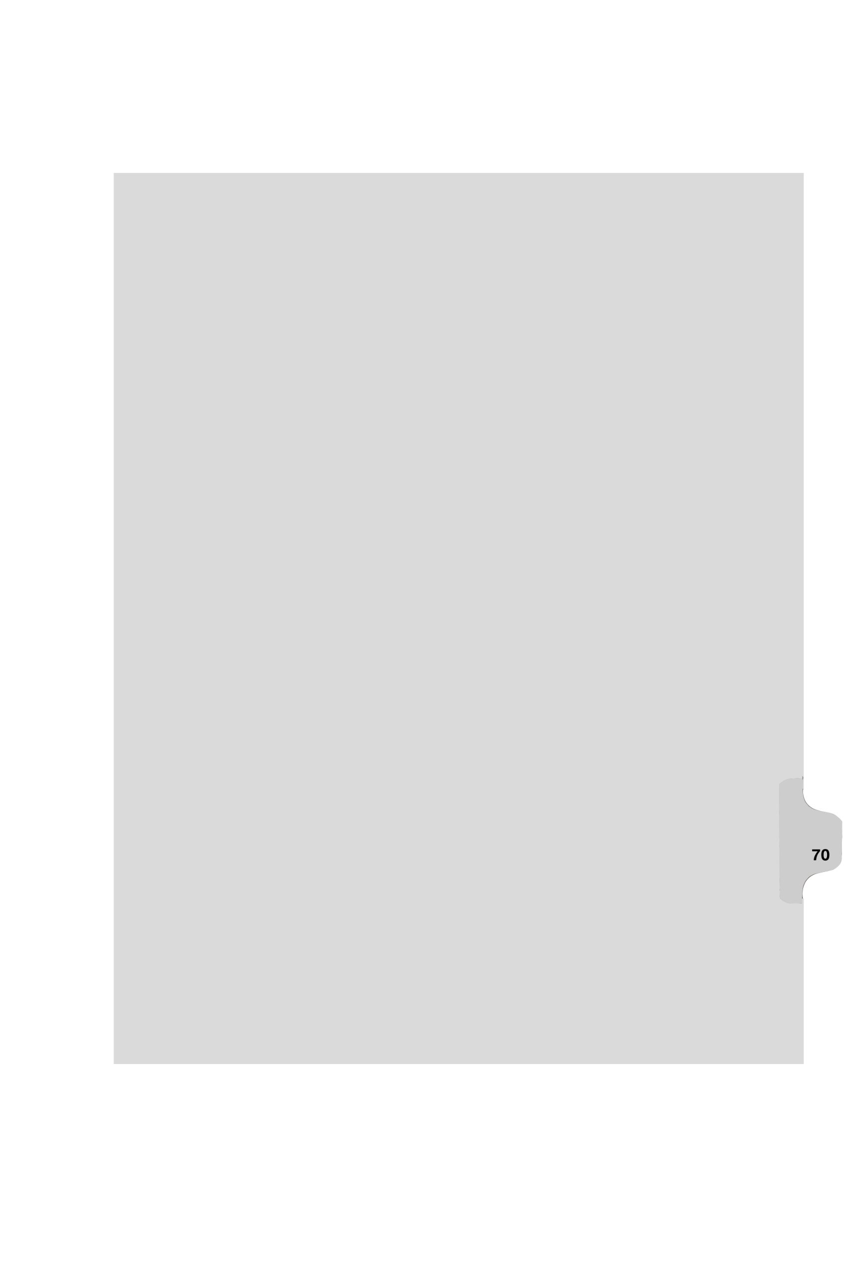 Kleer-Fax Legal-Size Individual Number Index Dividers, Side Tab, 1/25th Cut, 25 Sheets/Pack, White, Number 70 (84470)