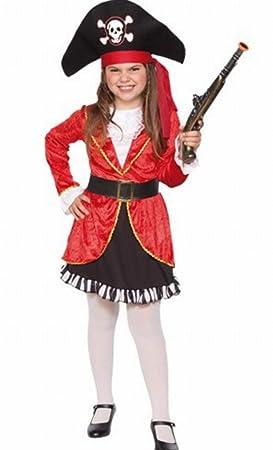 Fyasa 706356-t03 pirata disfraz de niña, rojo, mediano: Amazon.es ...