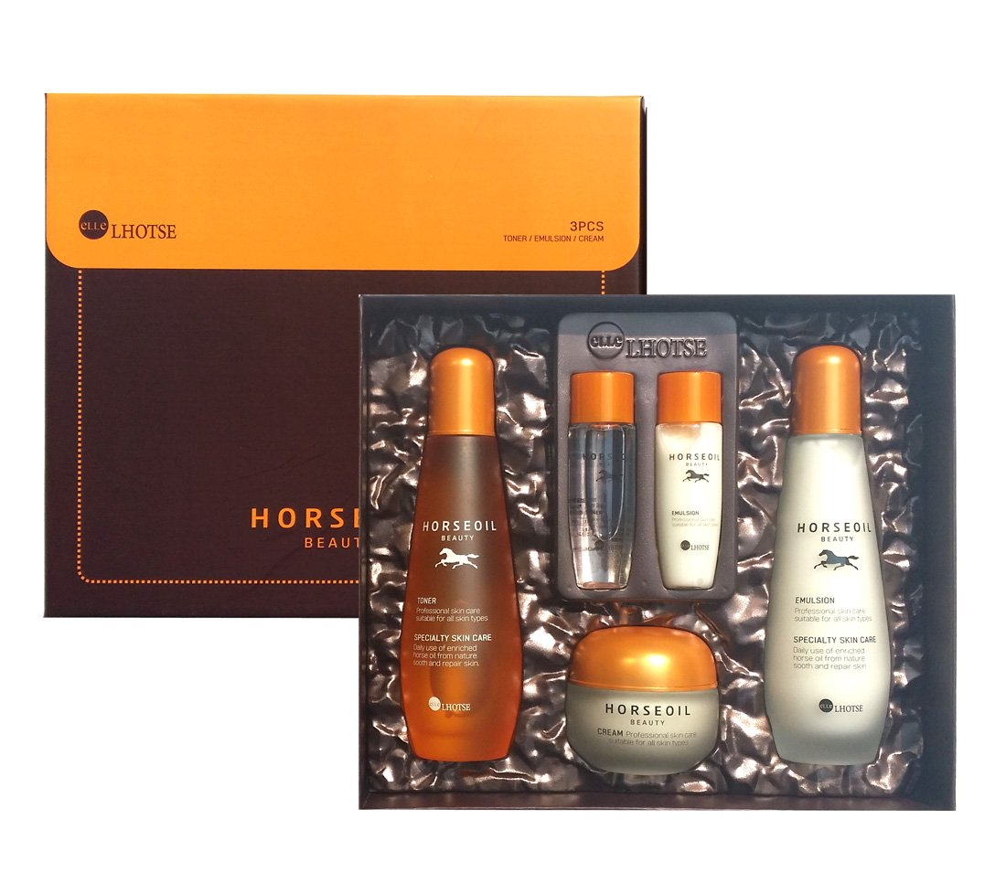[Ellelhotse] Horse oil beauty skincare 3set / moisturizing & brightening / Korean Cosmetics