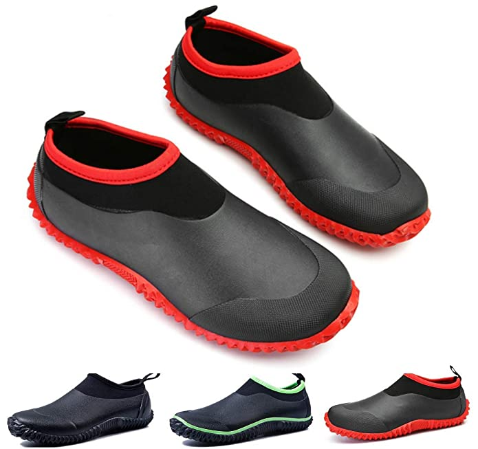 gracosy Rain Boots for Women Men, Waterproof Garden Shoes Beach Water Shoes Lightweight Walking Sneaker Car Wash Footwear Red-Black 8 M US Women / 6.5 M US Men