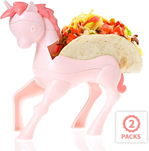 Hard//Soft Taco Holder Set of 2 Taco Holder Stands Unicorn Taco Holder for Kids Cute Kids Taco Plates,/Novelty Taco Holder in Pink Unicorn Design Fun Taco Holders for Girls Taco Tuesday Serveware