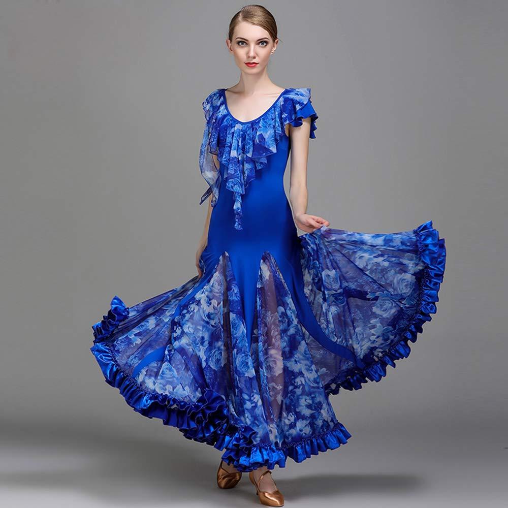 【超歓迎】 現代の女性の大きな振り子の氷のシルクの社交ダンスのドレスモダンなダンスドレスタンゴとワルツダンスドレスダンスコンペティションスカートドレス半袖ネット糸ダンスコスチューム Blue B07HKBKYZT B07HKBKYZT Blue Small Small, ヒラノク:ead2f4fc --- a0267596.xsph.ru