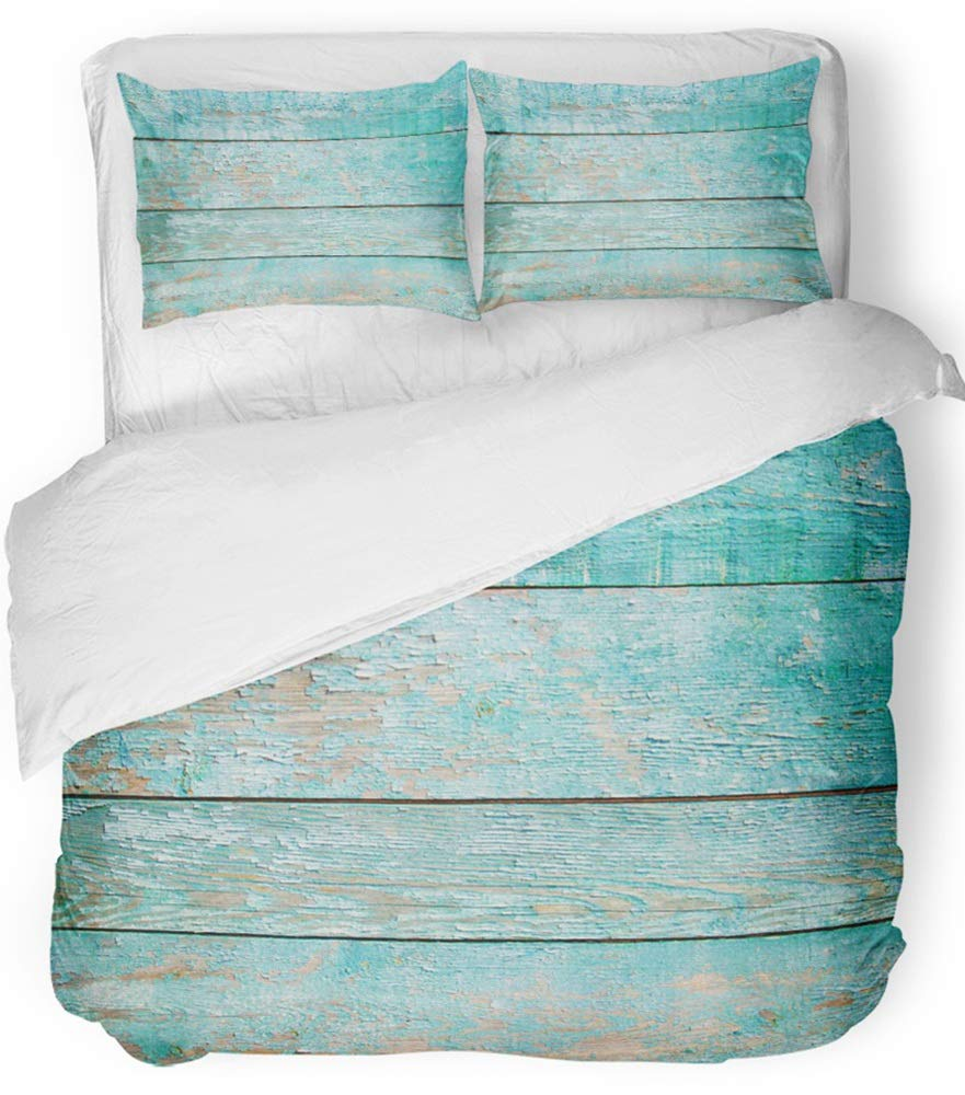 Emvency 3 Piece Duvet Cover Set Breathable Brushed Microfiber Fabric Blue Chic Shabby Mint Wood Abstract Blank Board Boarding Color Construction Bedding Set with 2 Pillow Covers Full/Queen Size