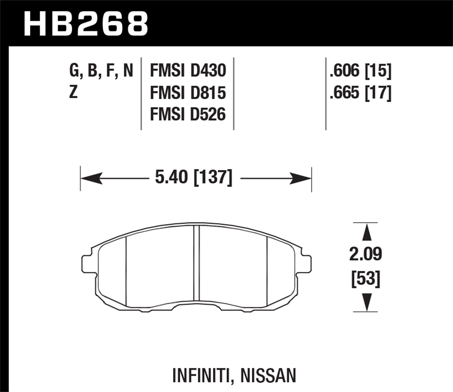Hawk Performance HB268B.665 HPS 5.0 Disc Brake Pad