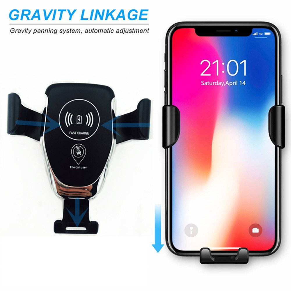 Wireless Car Charger Standard Charger for iPhone 8//8+//iPhone X and All Qi-Enabled Devices 4351537158 7iper Qi Fast Charger Car Mount Air Vent Gravity Phone Holder for Samsung Galaxy S8//S8+//S7 Edge//S6 Edge+