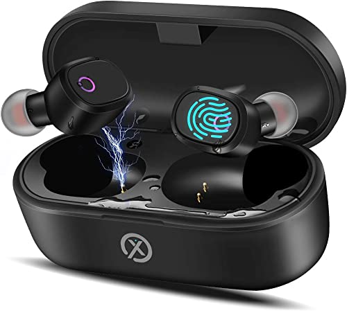 True Wireless Earbuds Headphones with Charging Case,TWS Bluetooth 5.0 Touch Control Noise Cancelling Stereo Earphones,IPX5 Waterproof with Built-in Mic Easy-Pairing Deep Bass 35H Playtime for Sport