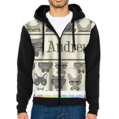 904589856485 Mens Hipster Cats Andrews Hoodie Sweatshirt Casual Sportwear Kangaroo  Pocket Long Sleeve Zip Closure Black