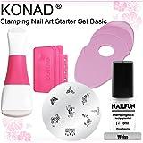 Kit Stamping KONAD® avec Tampon Double + Raclette + Support pour Plaques + Plaque M39 + Vernis Spécial Blanc NAILFUN® 10 ml
