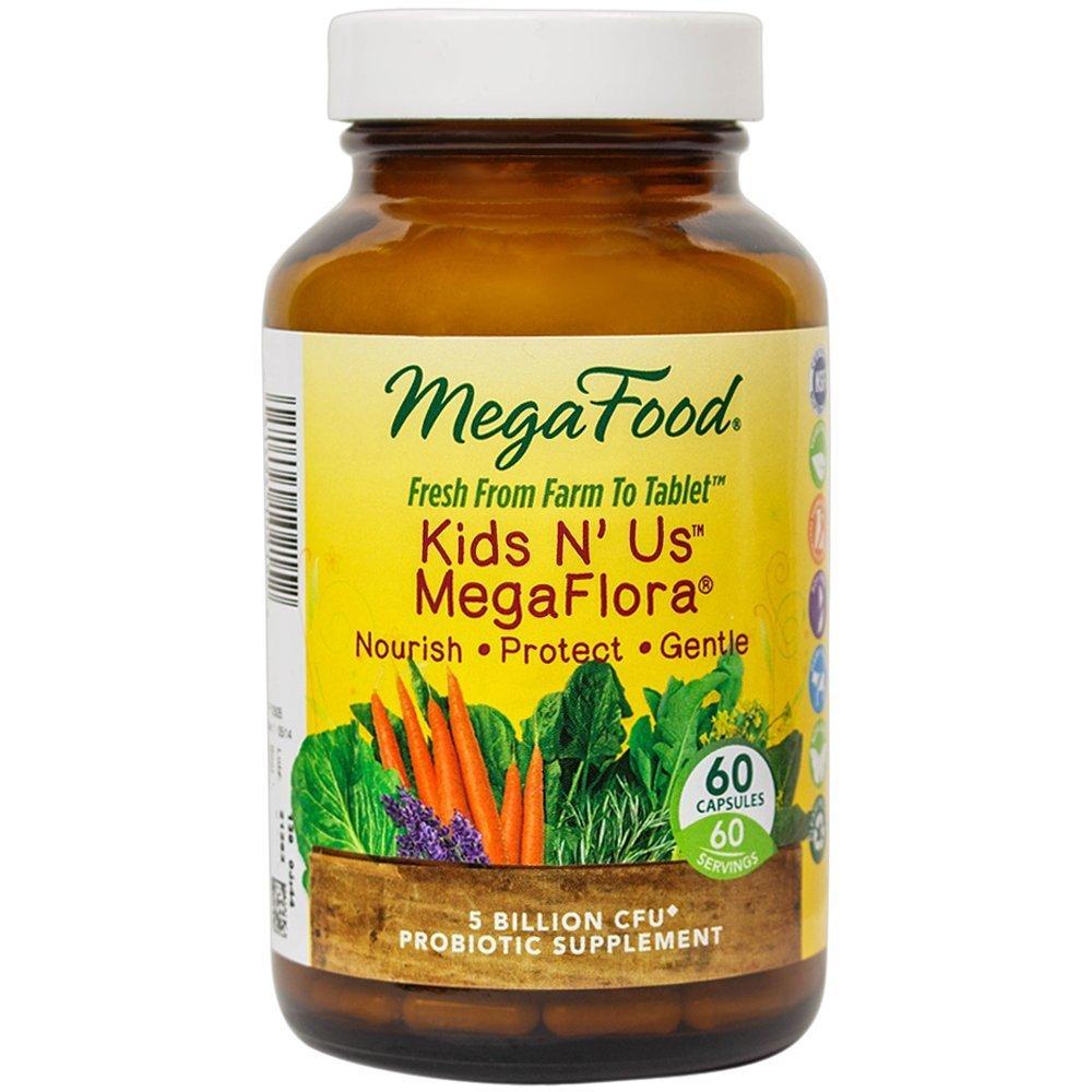 MegaFood - Kids N' Us MegaFlora, Probiotic Support for Digestion, Bowel Regularity, Intestinal Balance, and Immune Health, 5 Billion CFU, Vegetarian, Gluten-Free, Non-GMO, 60 Count