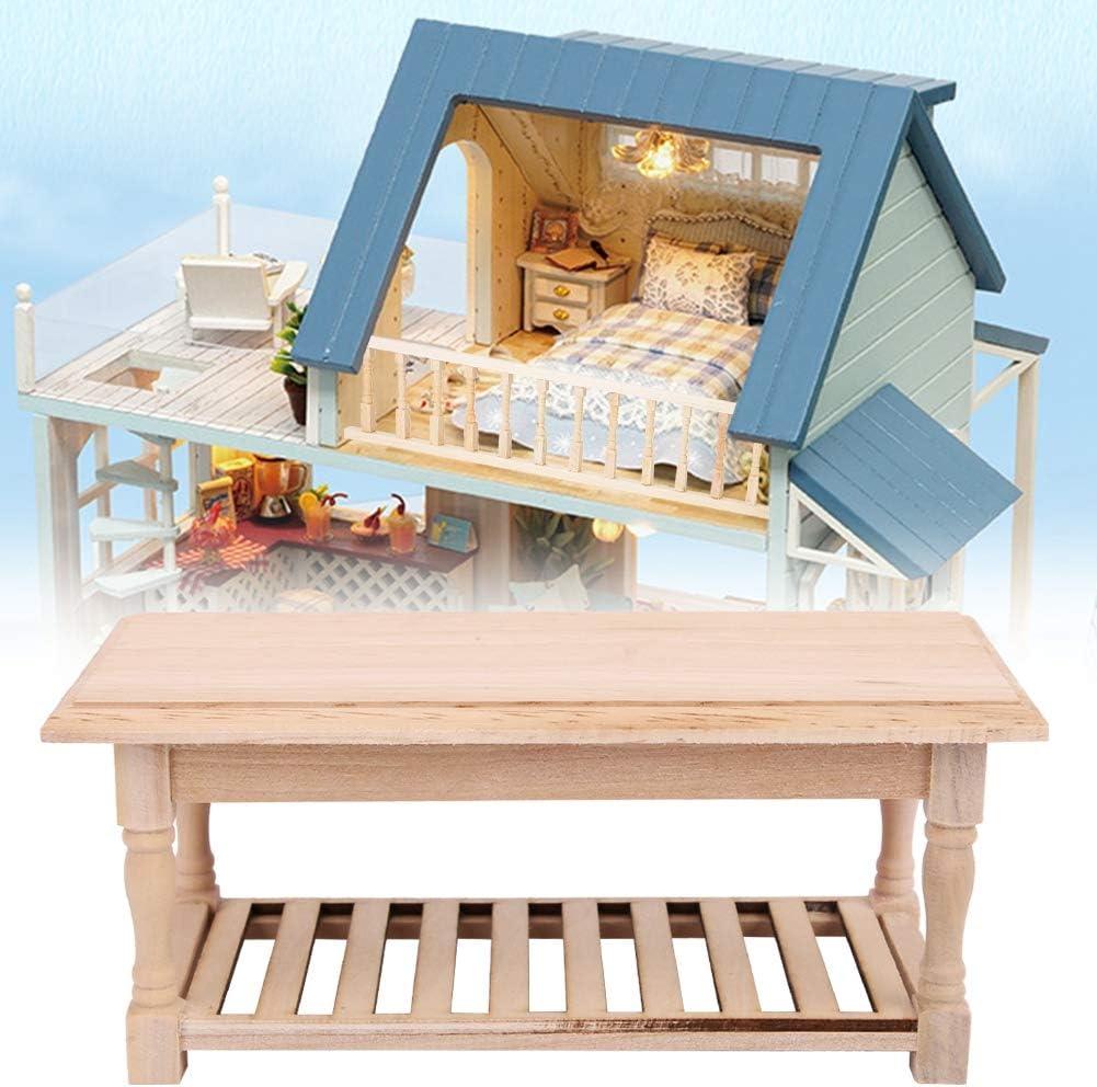 Zerodis Plain Dessert Table Kitchen Decoration for Doll House 1:12 Dollhouse Miniature Accessory Wooden Table