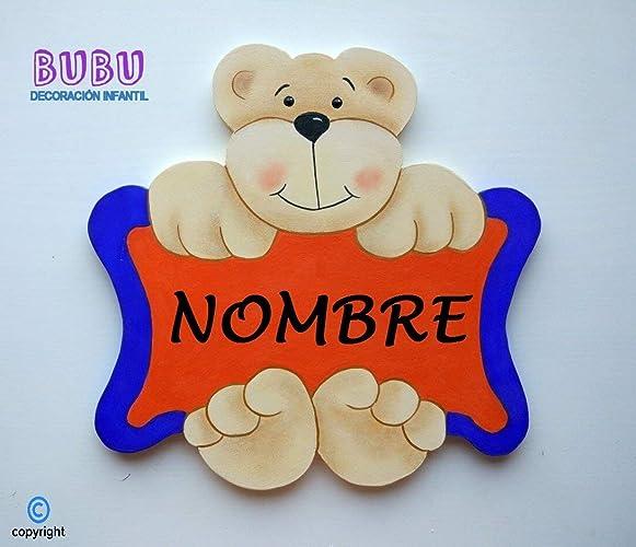 Placa infantil para puerta de Osito/Osita con nombre: Amazon ...