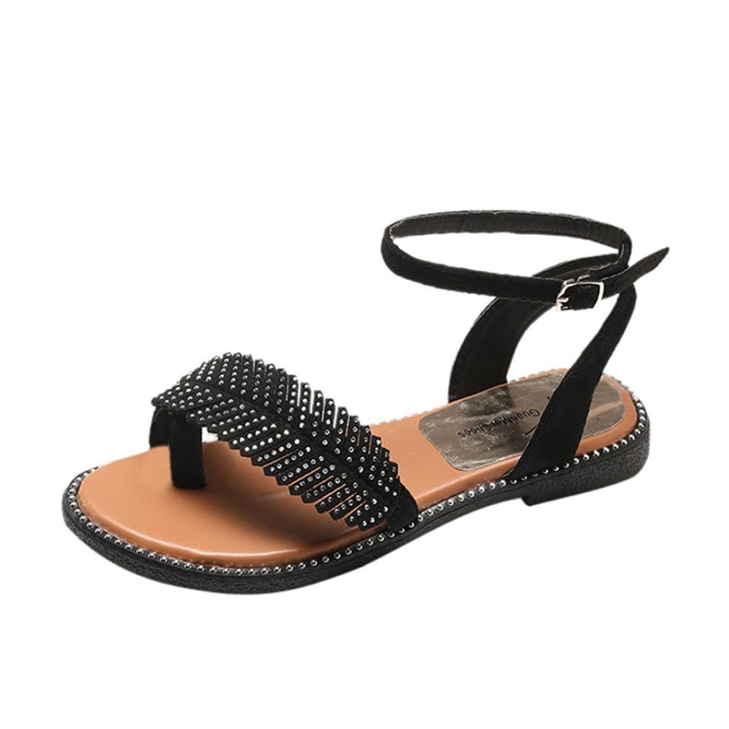 LUCKYCAT Prime Prime Day Amazon, Sandales d été Femme Plates Chaussures été de Été Sandales à Talons Chaussures Plates Sandales Romaines Feuilles Petites Perles Mode Pantoufles 2018 Noir 018d381 - automatisms.space