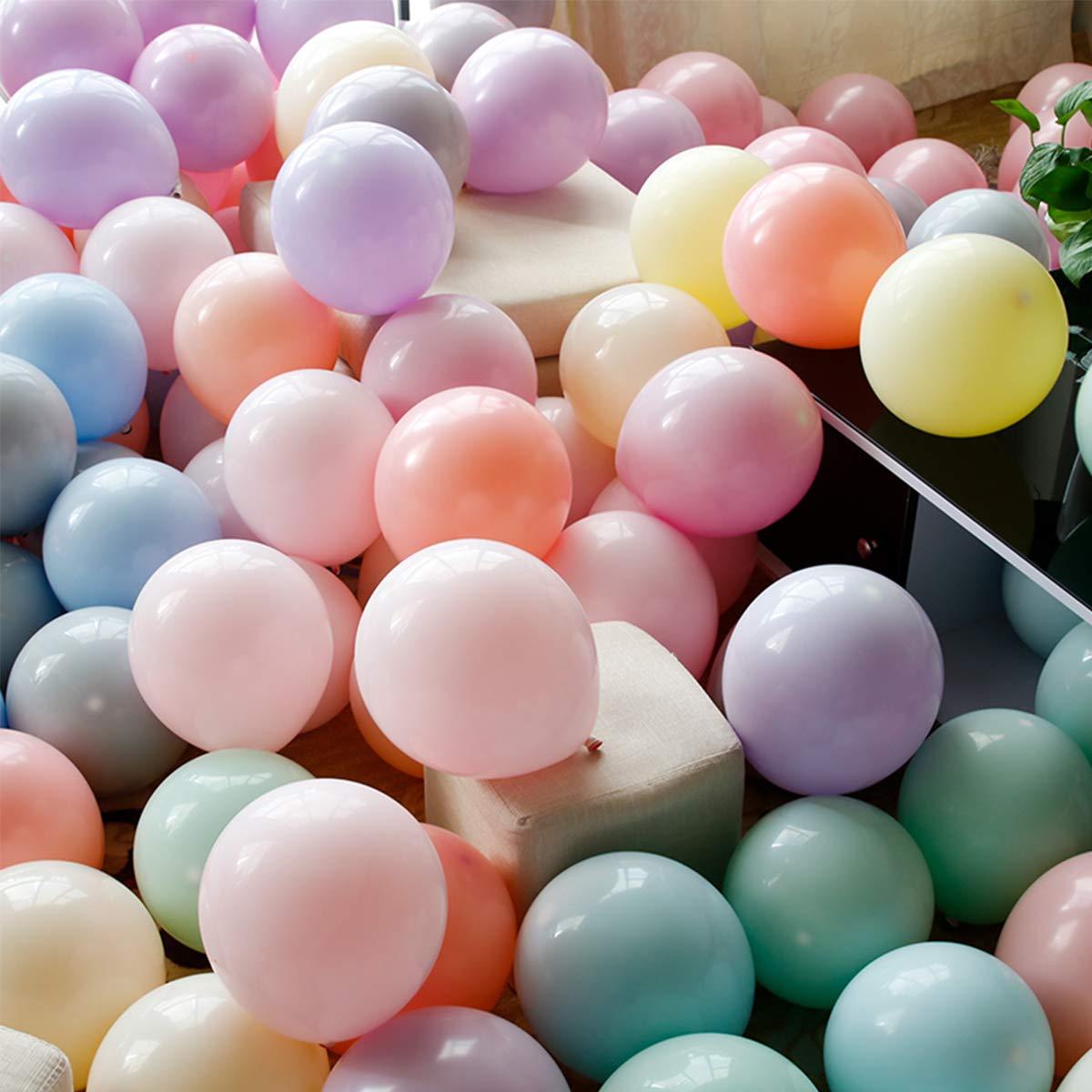 PuTwo Palloncini 100 pz Palloncini 10 Pollici Palloncini in Lattice Palloncini Compleanno Articoli per feste per Compleanno Matrimonio Festa di Laurea Natale Baby Shower - Macaron
