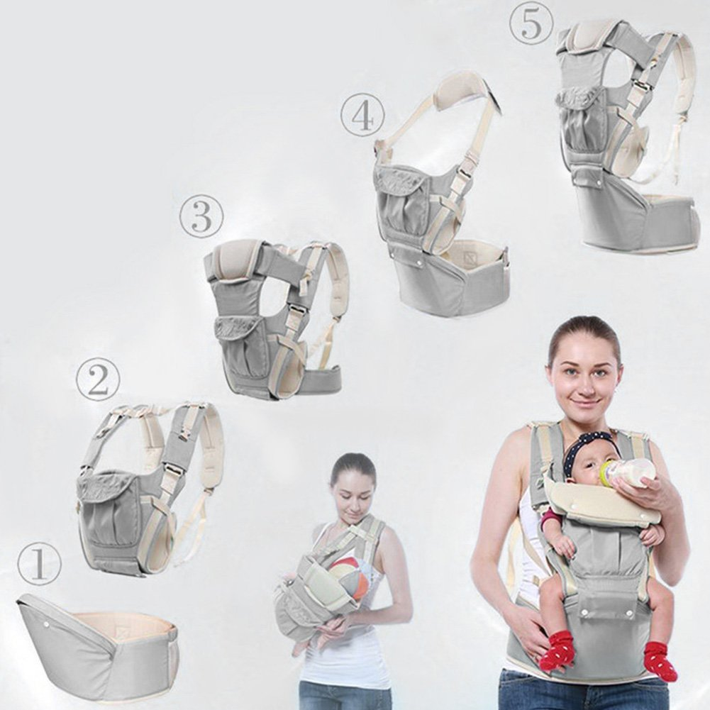 Multifunctional Baby Carrying Strap Carrier Waist Hipseat Stool Seat Sling Strap 360°Ergonomic Baby & Child Carrier Backpack Baby Carrier Pouch Bag Front and Back (gray) dahai