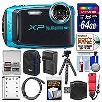 Fujifilm FinePix XP120 Shock & Waterproof Wi-Fi Digital Camera (Sky Blue) with 64GB Card + Case + Battery + Charger + Flex Tripod + Strap + Kit