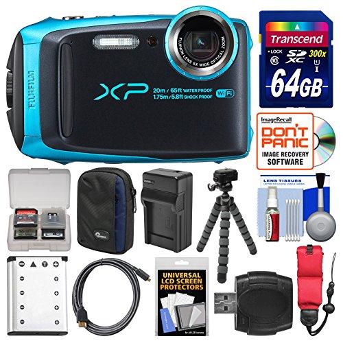 Fujifilm FinePix XP120 Shock & Waterproof Wi-Fi Digital Camera (Sky Blue) with 64GB Card + Case + Battery + Charger + Flex Tripod + Strap + Kit by Fujifilm