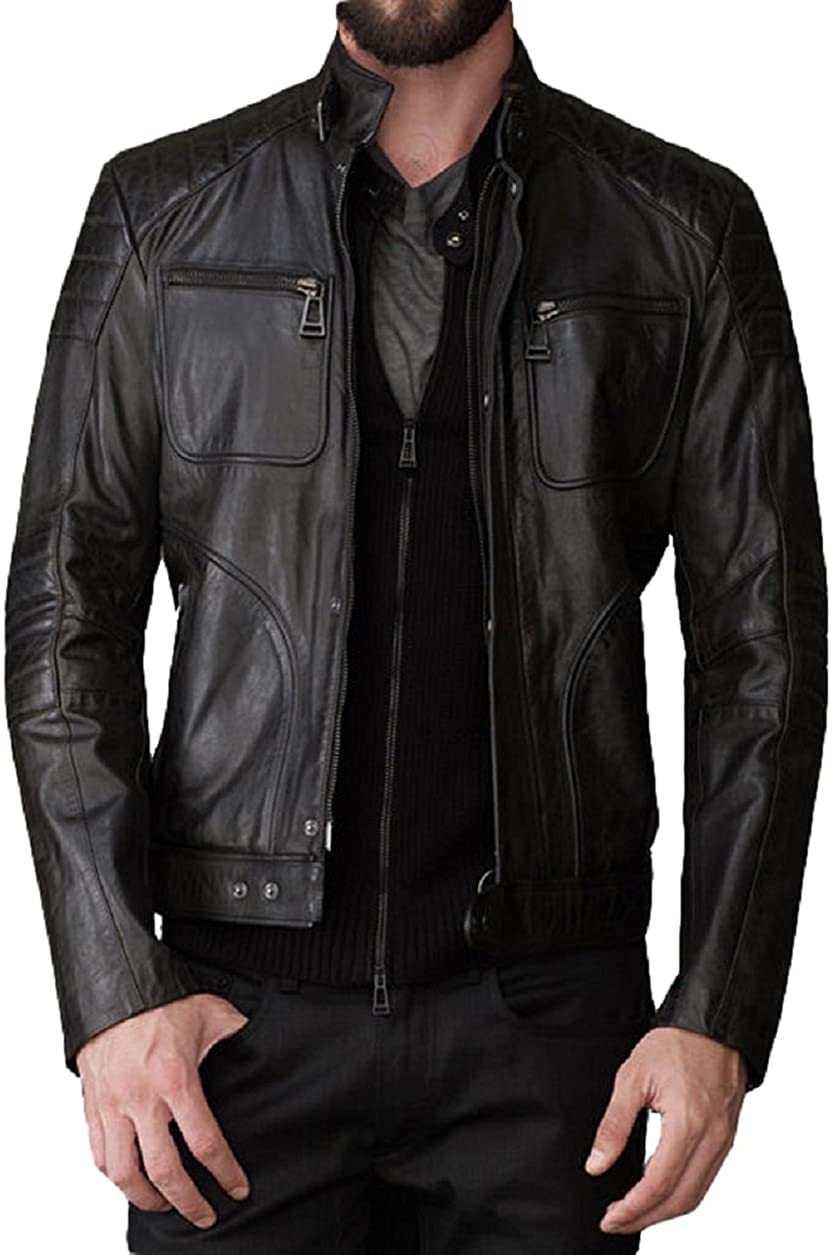 Kingdom Leather Mens Genuine Cow Leather Jacket Slim Fit Motorcycle Jacket XC140