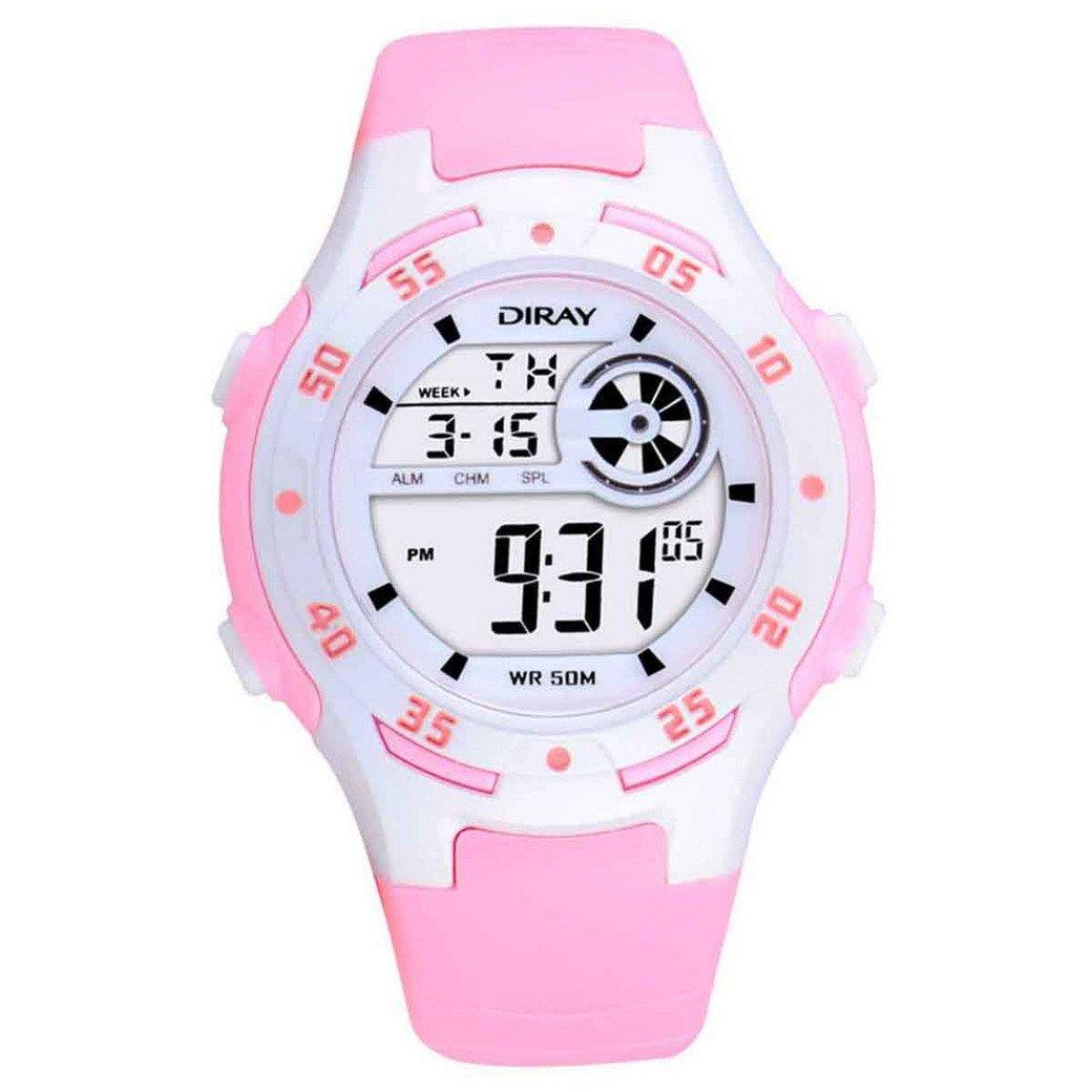 FEOYA Kids Rubber Band Luminous Week Month Display Electronic Digital Watches Pink