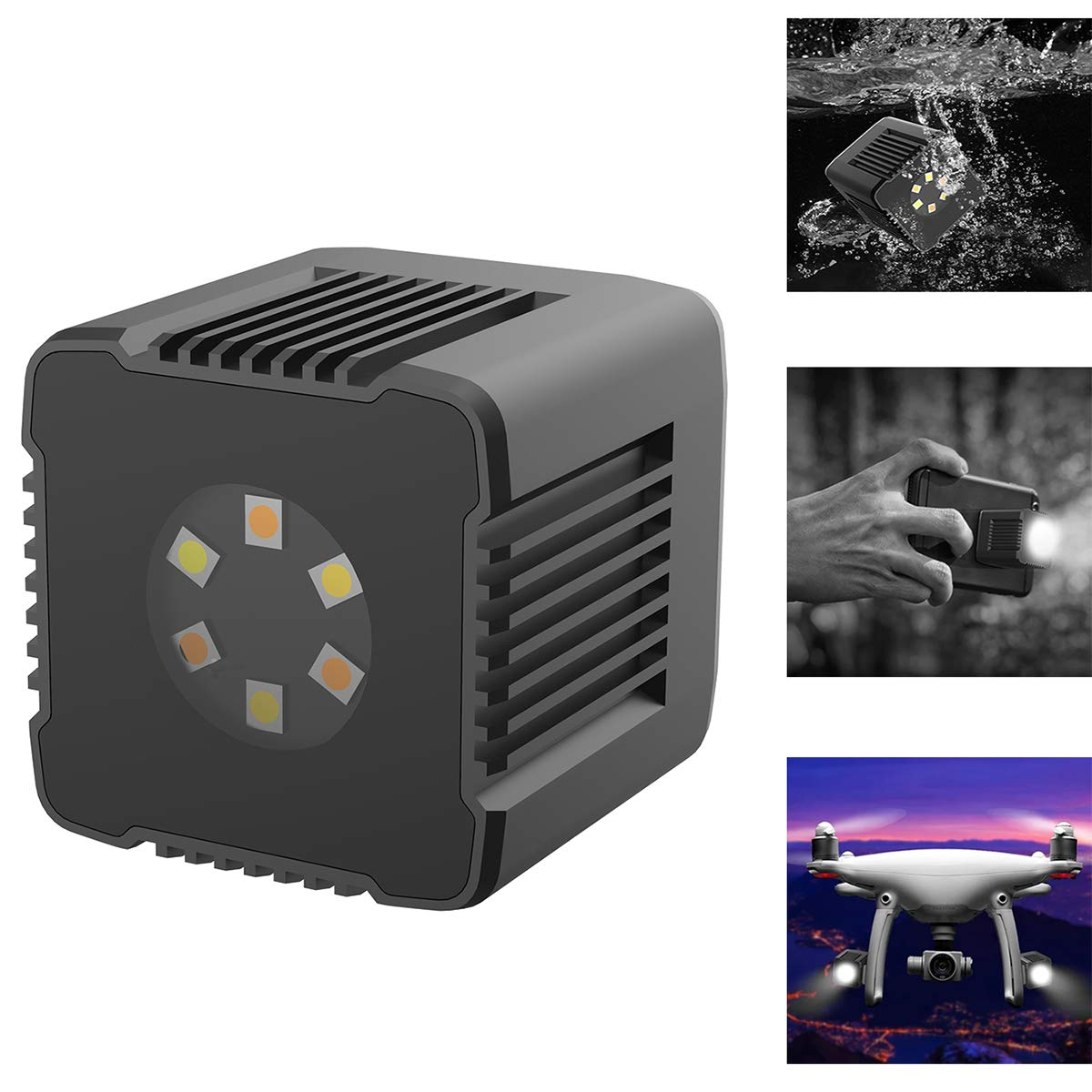 Dazzne Moin L1 Lume Cube LED Light, 3200K-5600K, 0-1000lux (0.5m) Waterproof 35 ft Underwater Photography Light with Magnetic Charging Cable APP Control for DSLR, Drones, Action Camera, Smartphone by Dazzne