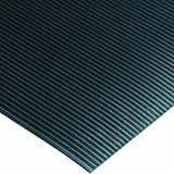 Wearwell PVC 381 Standard Corrugated Vinyl Runner, Full Roll, Chemical and Cleaning Fluid Resistant, for Wet Areas, 4' Width x 75' Length x 1/8'' Thickness, Black