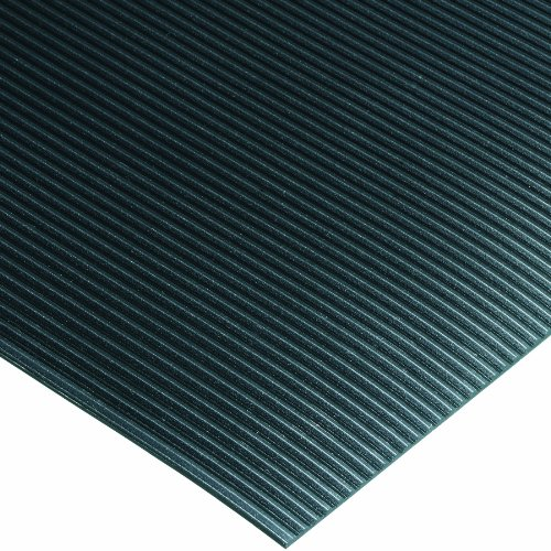 Wearwell PVC 381 Standard Corrugated Vinyl Runner, Full Roll, Chemical and Cleaning Fluid Resistant, for Wet Areas, 4' Width x 75' Length x 1/8'' Thickness, Black by Wearwell Industrial