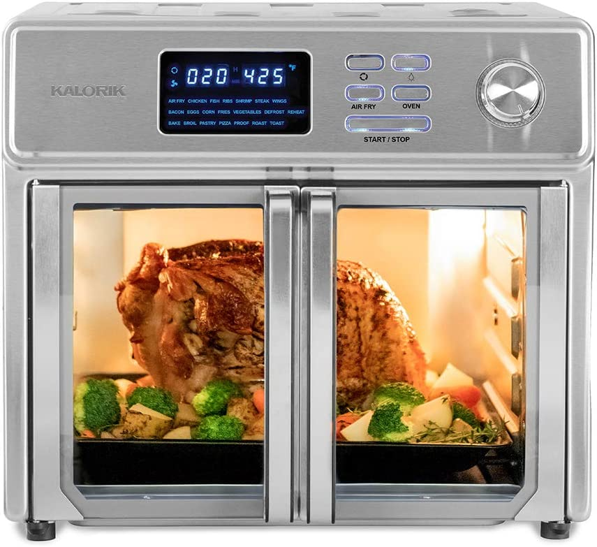 Kalorik 26 QT Digital Maxx Air Fryer Oven, Roaster, Broiler, Rotisserie, Dehydrator, Oven, Toaster, Pizza Oven and Slow Cooker. 9 Accessories with Cookbook. Sears up to 500°F. Extra Large Capacity, All in One Appliance. Stainless Steel.