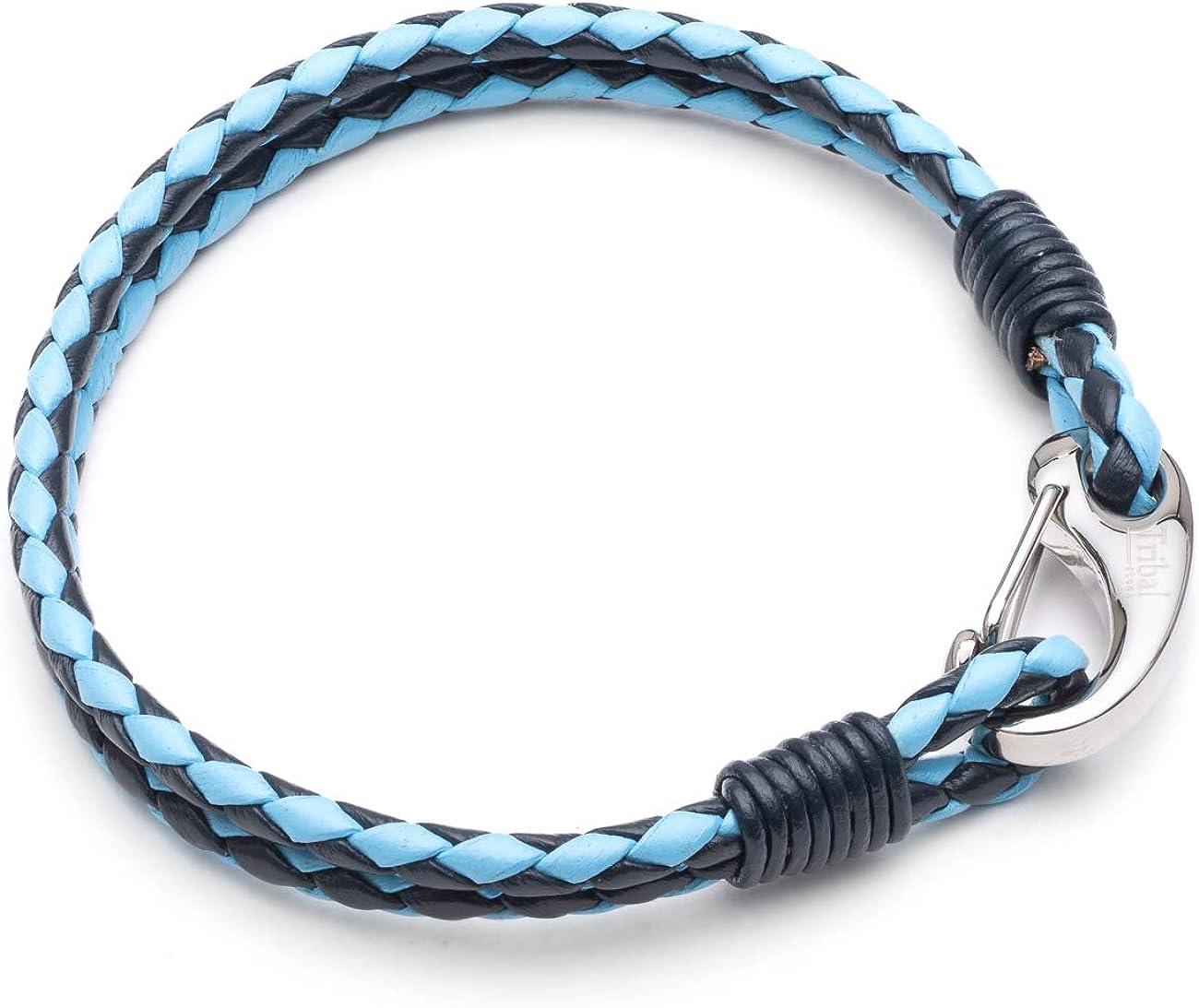 Tribal Steel - Pulsera de piel trenzada de 3 mm para hombre, color azul, 2 cuerdas, cierre de camarón de acero inoxidable, 21 cm con cierre seguro fácil de usar, gran regalo por Tribal Steel