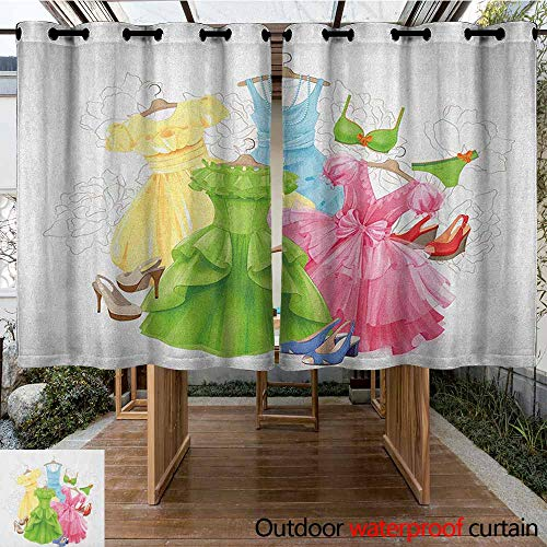 AndyTours Outdoor Curtain Panel for Patio,Heels and Dresses,Princess Outfits Bikini Shoes Wardrobe Party Costumes in Girls Design,Great for Living Rooms & Bedrooms,K140C183 Multicolor