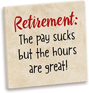 product image for Imagine Design Relatively Funny Retirement: The Pay Sucks, Travertine Coaster, Red/White/Black