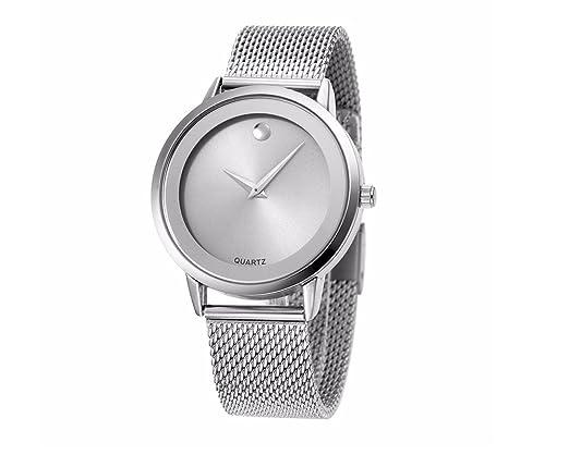 Amazon.com: Reloj De Mujer Moda Fashion Relojes de Mujer Plateados Women Quartz Stainless Steel Band RE0072: Watches