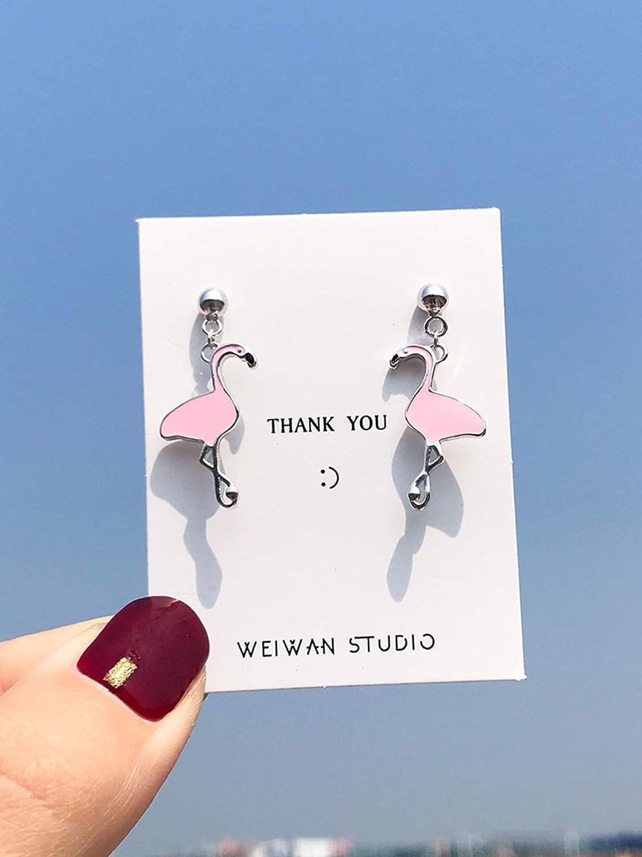 Pink Libaraba 925 Silver Animal Flamingo Stud Earrings with Jewelry Box,Flamingo Earrings for Women