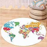 VROSELV Custom carpetWanderlust Decor World Map Made by Names of the Countries Europe America Africa Asia Graphic Home Decor Bedroom Living Room Dorm Decor Multi Round 72 inches