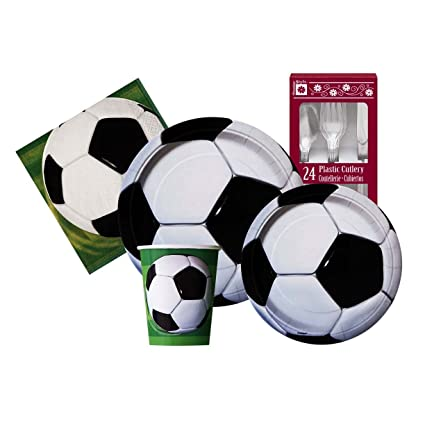 Soccer Ball Themed Birthday Party Supply Kit Serves 8