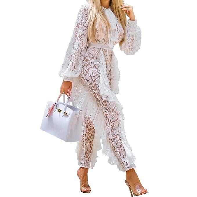 Blusas para Mujer Elegantes Volantes Vestidos de Fiesta Mujer Vintage Elegantes, Moda Mujer sólido Manga Larga Corbata Cuello Vendaje Sexy de Encaje Pliegue ...