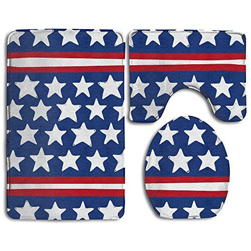(Patriotic American Star Stripe Slip-Resistant 3 Piece Bathroom Rug Set Extra Soft Flannel Non-slip Bath Rug 31
