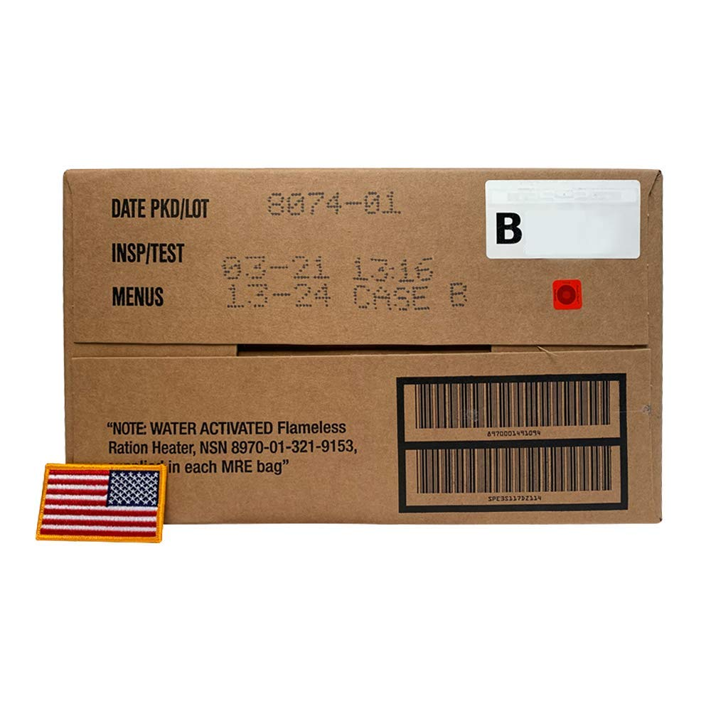 Ozark Outdoorz 01/2018 Pack, 01/2021 Inspection US Military MRE B Case with US Flag Patch