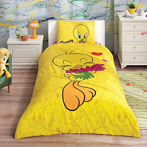 - Looney Tunes - Tweety Hearts 3 Pcs Twin / Single Size %100 Cotton Duvet Cover Set Bedding Linens
