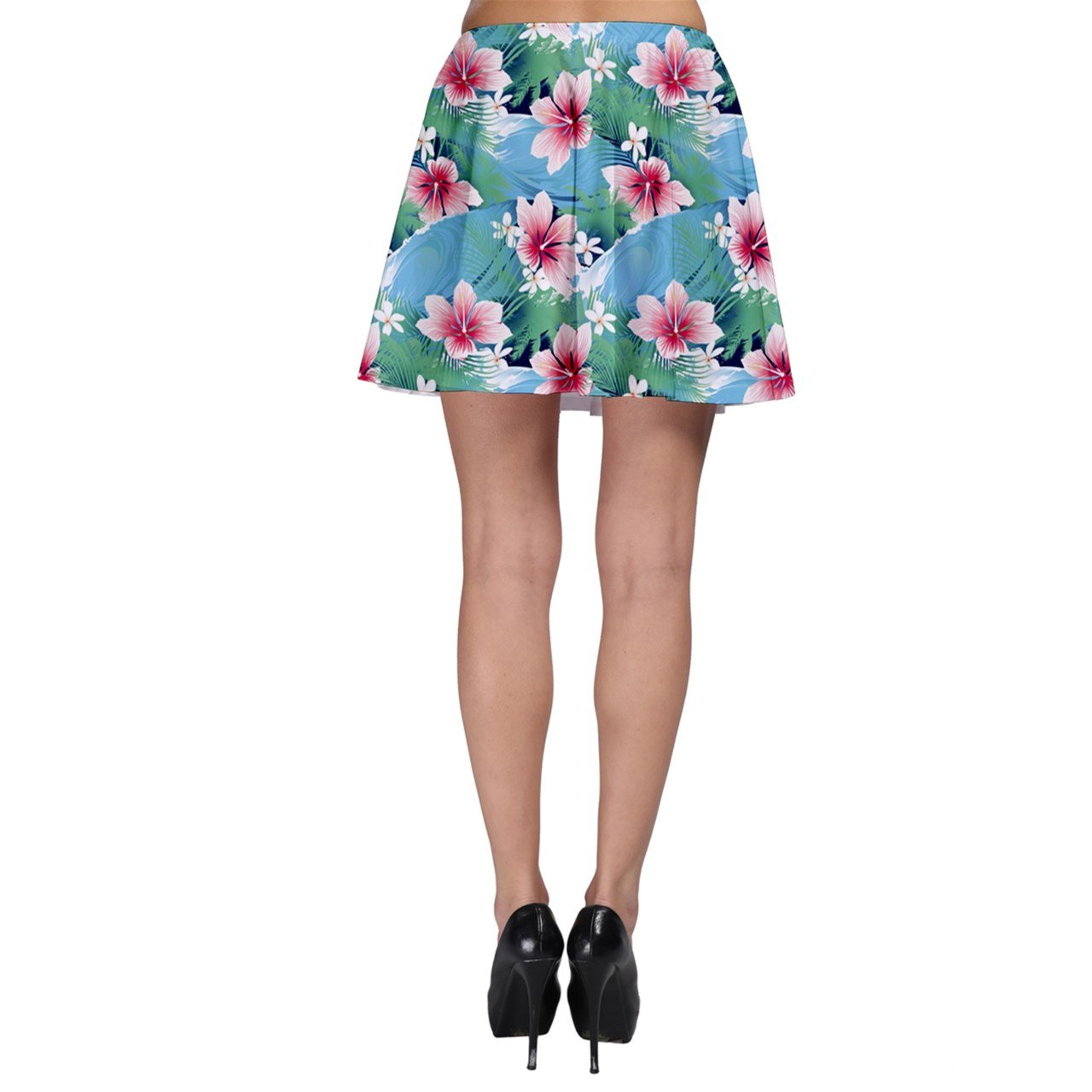 CowCow Turquoise Tropical White Hibiscus Flowers Green Leaves Skater Skirt