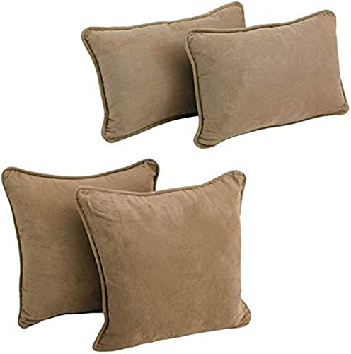 Blazing Needles 9819-S4-CD-MS-JV Double-Corded Solid Microsuede Throw Pillows with Inserts, Java, Set of 4