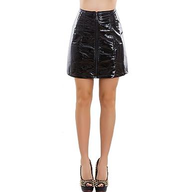 Toocool GI-6364 - Falda de Mujer de Vinilo Brillante con ...